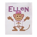 Little Monkey Ellen Throw Blanket