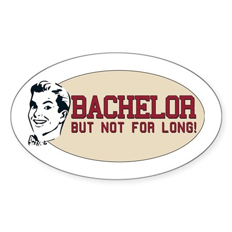Hip Retro Vintage Bachelor Oval Sticker
