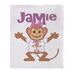 Little Monkey Jamie Throw Blanket