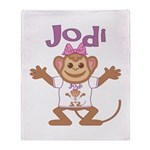 Little Monkey Jodi Throw Blanket