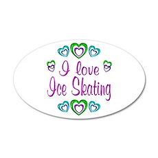 I Love Ice Skating 38.5 x 24.5 Oval Wall Peel