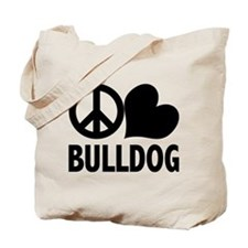 Peace Love Bulldog Tote Bag