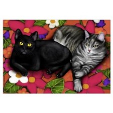 Black Cat & Gray Tabby Cat