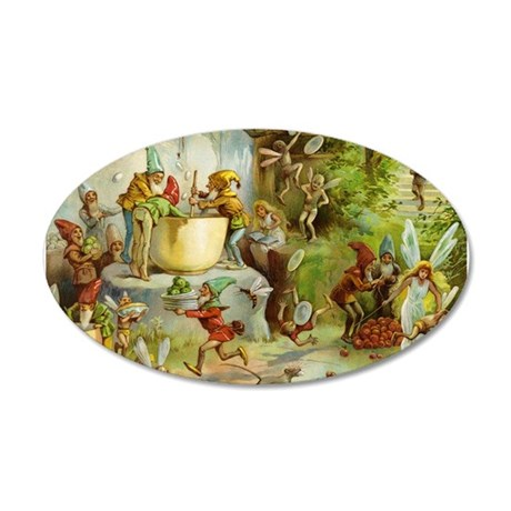Gnomes, Elves & Forest Fairies 22x14 Oval Wall Pee