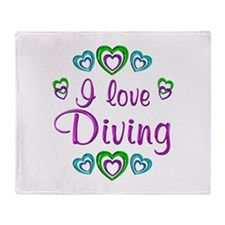 I Love Diving Throw Blanket