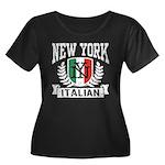 New York Italian Women's Plus Size Scoop Neck Dark