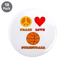 "Peace Love Streetball 3.5"" Button (10 pack)"
