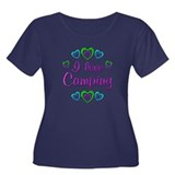 I Love Camping Women's Plus Size Scoop Neck Dark T
