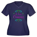I Love Camping Women's Plus Size V-Neck Dark T-Shi