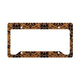 Brown Damask License Plate Holder