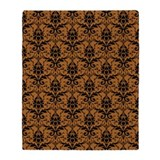 Brown Damask Throw Blanket