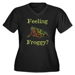 Feeling Froggy? Women's Plus Size V-Neck Dark T-Sh