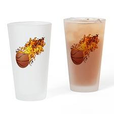 Flaming BasketBall Drinking Glass
