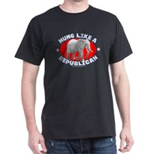 """Hung like a Republican"" Black T-Shirt"
