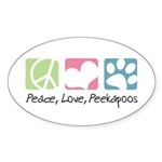 Peace, Love, Peekapoos Sticker (Oval 10 pk)