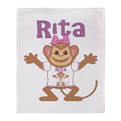 Little Monkey Rita Throw Blanket