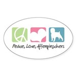 Peace, Love, Affenpinschers Sticker (Oval 50 pk)