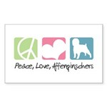 Peace, Love, Affenpinschers Sticker (Rectangle 50