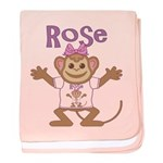 Little Monkey Rose baby blanket