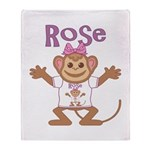Little Monkey Rose Throw Blanket