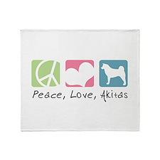 Peace, Love, Akitas Throw Blanket