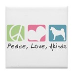 Peace, Love, Akitas Tile Coaster