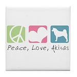 Peace, Love, Akitas Tile Coaster