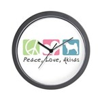 Peace, Love, Akitas Wall Clock