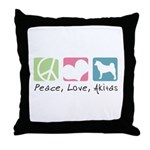 Peace, Love, Akitas Throw Pillow