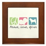 Peace, Love, Akitas Framed Tile