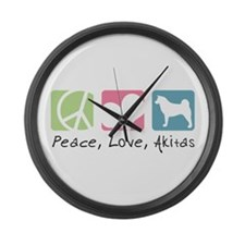 Peace, Love, Akitas Large Wall Clock