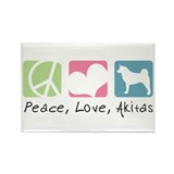 Peace, Love, Akitas Rectangle Magnet (100 pack)