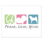 Peace, Love, Akitas Small Poster