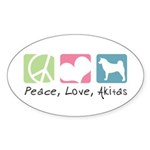 Peace, Love, Akitas Sticker (Oval 10 pk)