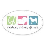 Peace, Love, Akitas Sticker (Oval 10 pk)