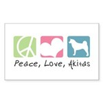 Peace, Love, Akitas Sticker (Rectangle 10 pk)
