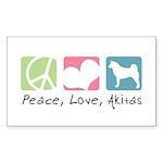 Peace, Love, Akitas Sticker (Rectangle 10 pk)
