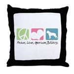 Peace, Love, American Bulldogs Throw Pillow