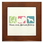 Peace, Love, American Bulldogs Framed Tile