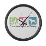 Peace, Love, American Bulldogs Large Wall Clock