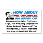 """""""Angry Liberal Mob"""" Sticker (Rectangle)"""