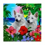German Shepherd Dog Tropical Sunset Tile Coaster