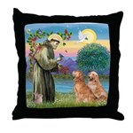 St Francis - 2 Goldens Throw Pillow