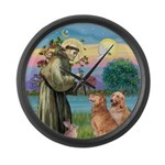 St Francis - 2 Goldens Large Wall Clock