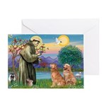 St Francis - 2 Goldens Greeting Card