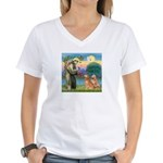 St Francis - 2 Goldens Women's V-Neck T-Shirt