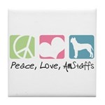 Peace, Love, AmStaffs Tile Coaster