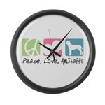 Peace, Love, AmStaffs Large Wall Clock