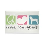 Peace, Love, AmStaffs Rectangle Magnet (100 pack)