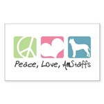Peace, Love, AmStaffs Sticker (Rectangle 50 pk)